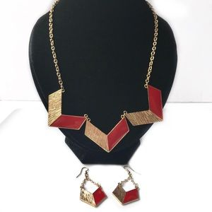red and gold colored necklace w/matching earrings